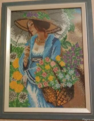 """Картина """"Девушка в шляпе"""", вышита бисером (ручная работа!)"""