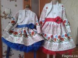 Платья детские и взрослые в украинском стиле, маки, хлопок - фото 5