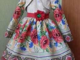 Платья детские и взрослые в украинском стиле, маки, хлопок - фото 4